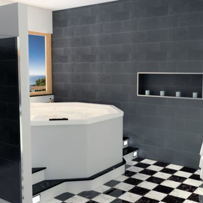 """Black and White"" bathroom with shower and Jacuzzi"