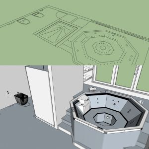 "Modeling of ""Black and White"" bathroom from original 2D project"