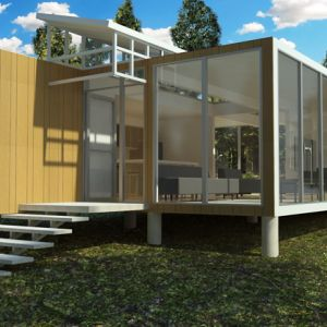 Modular container house in the woods