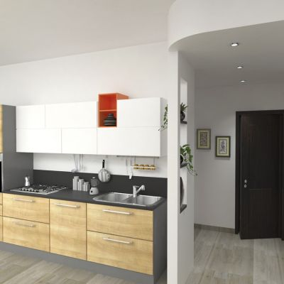 """Light Morning"" kitchen and entrance; project for a private house"