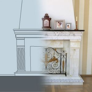 Modeling and rendering of a baroque fireplace from 2D project