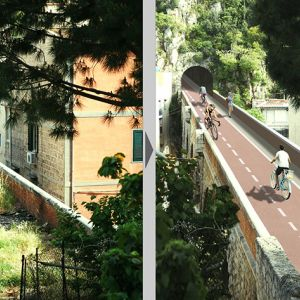 Transformation of an old bridge in a cycle-pedestrian lane